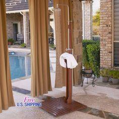 Outdoor Shower Freestanding Wooden Douche Poolside Pool Towel Rack Garden Hose