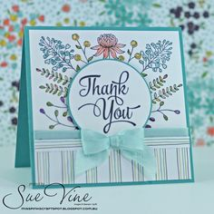 Miss Pinks Craft Spot featuring Stampin' Up! products by Sue Vine, Adelaide South Australia Cute Cards, Diy Cards, Your Cards, Stampin Up, Karten Diy, Stamping Up Cards, Thank You Note Cards, Flower Cards, Creative Cards