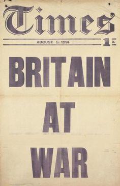 "Times Newspaper, ""Britain At War"", August 5, 1914. (Art.IWM PST 13006)"