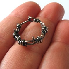 Men's Earring Sterling Silver Hoop Earring by girltuesdayjewelry