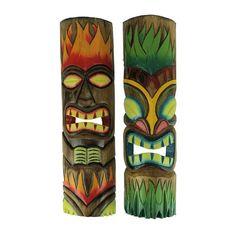 Totem Pole Art, Tiki Totem, Tiki Tiki, Kho Lanta, Tiki Decor, Outdoor Decor, Outdoor Crafts, Outdoor Furniture, Tiki Faces