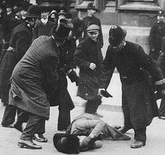 """""""Black Friday"""" 18th. Nov. 1910. 300 Suffragettes protest outside Parliament. """"The number of persistent raiders who were put under arrest had risen to over 80 at dusk, but even then deputations continued to arrive from Caxton Hall. Each batch made a dash at the police cordon, and when the House rose, about 6 o'clock, 119 arrests had been made."""" (The Times)."""