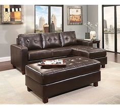 Claremont Leather Reversible Chaise Sectional Sofa