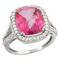 14K White Gold Cushion 4.8 Ct. Checkerboard Cut Pink Topaz Ring, Size 10 in Jewelry & Watches, Fine Jewelry, Fine Rings | eBay