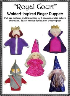 Make a set of 5 Waldorf-inspired finger puppets in 10 super-easy steps. Tutorial-style PDF pattern includes full-size patterns for King, Queen, Princess, Knight and Wizard finger puppets. Finished sizes range from 3 1/2 inches to 5 inches (including hats). These puppets have been