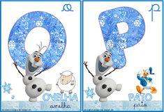 A Arte de Ensinar e Aprender: Cartelas alfabeto temático Frozen Snowman, Disney Characters, Fictional Characters, Frozen, Symbols, Letters, Children, Alphabet, Teaching
