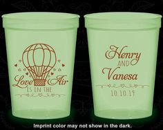 Love is in the Air Wedding, Personalized Glow Cups, Hot Air Balloon Wedding, Love Wedding, Glow-in-the-Dark (225)