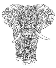 Elephant Abstract Doodle Zentangle Paisley Coloring Pages Colouring