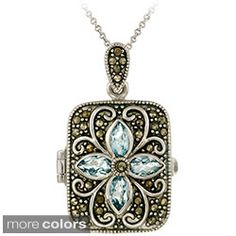 Shop for Glitzy Rocks Sterling Silver Gemstone and Marcasite Locket Necklace. Free Shipping on orders over $45 at Overstock.com - Your Online Jewelry Destination! Get 5% in rewards with Club O!