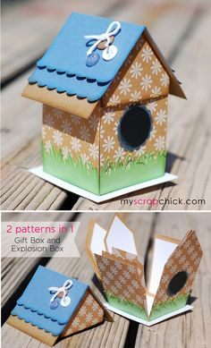 Birdhouse Explosion Box - pattern from My Scrap Chick