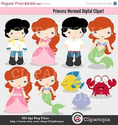 50 OFF SALE Princess Mermaid Digital Clipart for by ClipArtopia, $2.50