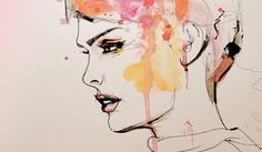 Leigh Viner- Fashion illustration. Use of colour and pen/ black ink. The colour contrasts really well with the pen outline. I really like the drip and free flowing style of fashion illustration. The detail of the facial features controls this illustration.