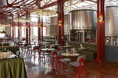 Mad Giant Beer brewery and restaurant / Haldane Martin - Haldane Martin Iconic Design has designed a brewery and restaurant interior for Mad Giant beer that plays with scale referencing oversized metal toy construction kits. The result is a creative and welcoming industrial space that brings to life the DIY ethos of the renegade South African craft beer, while contributing to the urban regeneration of inner-city Johannesburg...