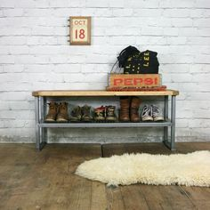 bring it on home quirky vintage furniture desirable design objects u003e industrial rustic hallway shoe storage rack bench made to ord