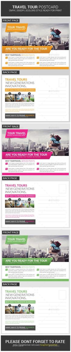 Tour Travel Business Postcard Psd Template Cards Print Invites