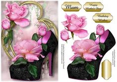 Stunning Shoes The Venice Collection Sugar Baby Roses on Craftsuprint designed by Anne Lever - This lovely topper features a fabulous shoe embellished with gorgeous sugar baby roses, on a fancy golden frame. It has a single layer of decoupage to add depth, three greetings to choose from and a blank greetings tile. The greetings are mum, happy mother's day and birthday wishes. - Now available for download!