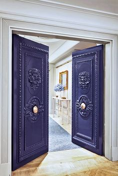 Nice door color - David Collins design for the Apartment Connaught Hotel, London Double Door Design, Main Door Design, Double Doors Interior, Interior And Exterior, Interior Design, Old Doors, Windows And Doors, Connaught Hotel, Architecture Restaurant