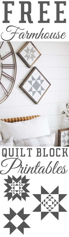 Look Over This Free Printables For Your Walls – Free Farmhouse Quilt Block Printables – Best Free Prints for Wall Art and Picture to Print for Home and Bedroom Decor – Ideas for the Home, Organization . Barn Quilt Designs, Barn Quilt Patterns, Craft Patterns, Farmhouse Quilts, Farmhouse Decor, Farmhouse Style, Industrial Farmhouse, Farmhouse Signs, Farmhouse Ideas