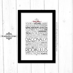 Harry Potter - Movies -Typography - Quotes & Words - Physical Print - A4 Unframed A4 Framed - A3 Framed - Custom Print by TheGodmotherDesigns on Etsy https://www.etsy.com/uk/listing/384958394/harry-potter-movies-typography-quotes