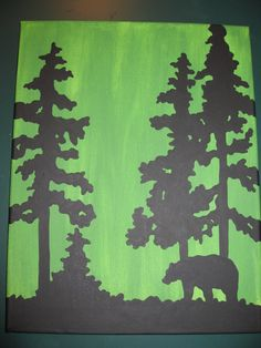 possible project idea Bear Silhouette, Silhouette Painting, Silhouette Clip Art, Mountain Silhouette, Diy Tree Painting, Painting On Wood, Painted Boards, Painted Rocks, Bear Decor