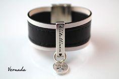 Vernada Design -nahkaranneke, musta valkoisilla reunoilla, 30mm, KIITOLLINEN