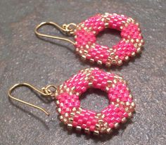 Red & Gold Hexagon Beadwork Earrings Free Shipping USA