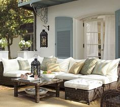 This whole look!  ~ Torrey All-Weather Wicker Sectional Set #potterybarn
