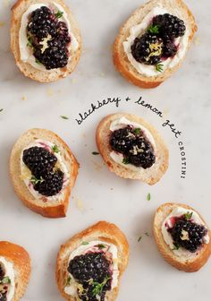 Source: Love and Lemons - www.loveandlemons.com/2014/05/21/blackberry-lemon-zest-crostini/  View entire slideshow: Our Go-To Entertaining Recipes on http://www.stylemepretty.com/collection/744/