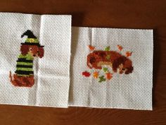 A long and short year is a collection of 12 adorable Dachshund dogs. One dog for every month. Stitch it individually or create your own Doxie sampler. Stitched sample is Sept and Oct.