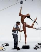 """cjaquay: """" Naomi Campbell photographed by Photographer Jean-Paul Goude, DWNH) Because she has only one pointe shoe on. Because her figure is of legend. Because they call her Naomi. Because she does not allow the fashion industry to. Claudia Schiffer, Naomi Campbell, Natalia Vodianova, Cindy Crawford, Jean Paul Goude, Alexandra Potter, Estelle Lefébure, Corpus, Gisele Bündchen"""