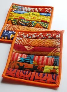 Too Hot to Handle Potholders Set of two (2) handmade potholders/trivets to spice up your kitchen. Each potholder is individual and no 2 are alike; made from 100% cotton West African fabric. Each potholder is pieced and quilted with Warm and White® batting and Insul-Bright® insulating material.