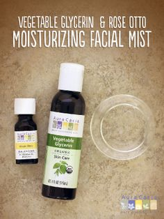 Use this facial mist to moisturize once and continue hydrating your skin throughout the day. All you need is a little water, Rose Otto essential oil and vegetable #glycerin. #facialmist #skincare