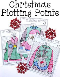 This Ugly Sweater Party Christmas plotting points picture worksheet would be the perfect activity for my Middle School Math students right before Winter break.  I love doing activities like this with my High School Algebra & Math students as well.  I'm going to let them color them and then use them as classroom Christmas decorations!  This will be a great way to get some coordinate graphing practice while still getting ready for Winter Break. High School Algebra, Algebra 1, High School Activities, Christmas Maths Activities, Math Activities, Math Worksheets, Math Resources, Christmas Art Projects, Christmas Crafts