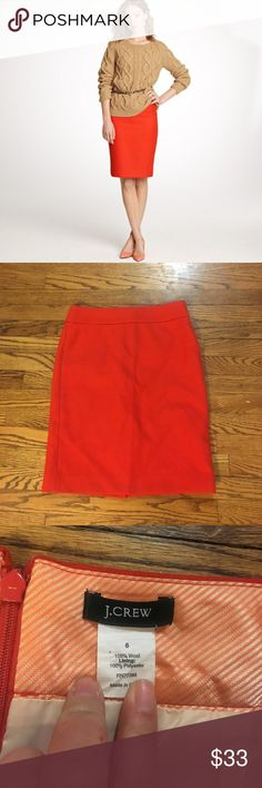 J crew number 2 pencil skirt in Vibrant Flame! Lovely pencil skirt from j crew! In excellent condition. Size 6. J. Crew Skirts Pencil