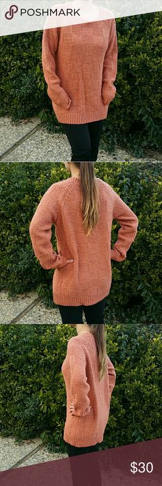 Ultra Soft Mid-Long Sweater, Color: persimmon Mid-Long Longsleeve Sweater  Ultra soft. Acrylic blend. Not itchy at all!  Thick knit. Cozy and warm.  Rich persimmon color.  EUC, with only tiny signs of wear.  Multi-wear: Works with leggings, boots, jeans or as a dress. Sweaters Crew & Scoop Necks