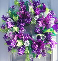 "Deco Mesh Wreath for your door, Spring Deco Mesh Wreath, Easter Deco Mesh Wreath, Easter Wreath, Spring Wreath, Summer Deco Mesh Wreath for your door,  This beautiful wreath is perfect for any time of year!! Measures 25"" So bright and cheery! Ready to greet your guest and bring a smile 😊#decomeshwreath #purplewreath #springwreath"