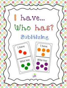 Practice subitizing 1 to 5 with this I Have Who Has game!  Perfect for Pre-K or Kindergarten!