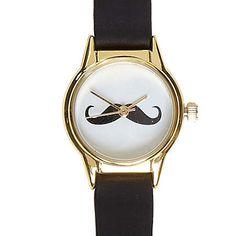 black moustache face watch - watches - women - River Island