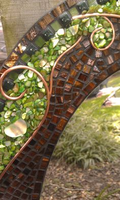 Oval Mixed Media Mosaic Mirror with green by PeacedTogetherGlass, $525.00