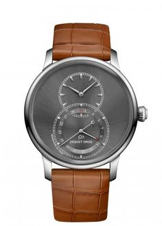 Grande Seconde Quantième Satin-brushed Anthracite | Satin-brushed anthracite sunray dial. Stainless steel case. Pointer-type date display at 6 o'clock. Self-winding mechanical movement. Power reserve of 68 hours. Diameter 43 mm.