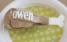 Thanksgiving Place Card Idea -  so cute for the kids table!