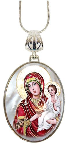 Check out Lady of Light Oval Charm Pendant, Museum Icon Handcrafted Jewelry Collection Silver Plated mother-of-pearl, Religious Gift 029 on iconartbyhand