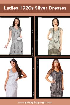 Stunning Evening Gowns andr Dresses perfect for your next 1920s party or Event? You will love all our Roaring 20s & Great Gatsby Style dresses - click here to see them all! 1920s Fashion Women, Great Gatsby Fashion, Womens Fashion, 1920s Party, Great Gatsby Party, Great Gatsby Dresses, Gatsby Style, Roaring 20s, Silver Dress