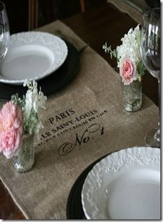 French Country burlap with beautiful white table setting