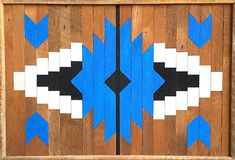 "Colorful Wood Wall Art Decor, Native American Design, 24.1/4""x16.3/4"", Original, Bright Blue, Black, White, Natural, Reclaimed Wood Wood Wall Art Decor, Reclaimed Wood Wall Art, Wood Art, Wood Mosaic, Mosaic Wall Art, Latte Art, Art Rustique, Rustic Art, Art Mural"