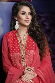 Pinkish peach georgette kameez with chinese collar design #exquisite #adorable #bright