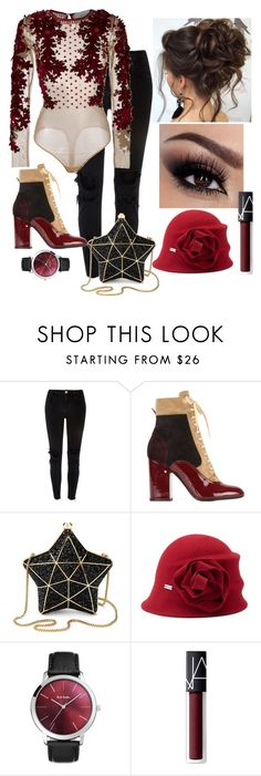 """""""The Bodysuit"""" by namogold ❤ liked on Polyvore featuring River Island, Laurence Dacade, Aspinal of London, Betmar, Paul Smith and NARS Cosmetics"""