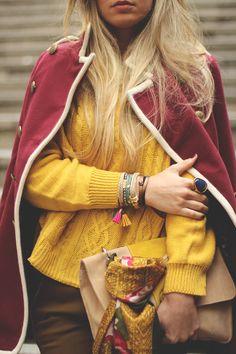 Women, style, clothing, fashion, outfit, sweater, yellow, shawl, burgundy, purse, bracelet, fall, autumn