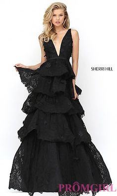 from SherriHill.com · Long V-Neck Lace A-Line Prom Dress at PromGirl.com