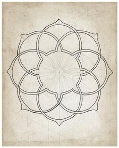 Geometric art illustration giclee art archival print beige tan wall art 'Geometry Sketch Eleven' - New Pin Geometric Patterns, Geometric Lines, Geometric Designs, Geometric Mandala, Islamic Art Pattern, Pattern Art, Pattern Design, Mandalas Drawing, Mandala Art